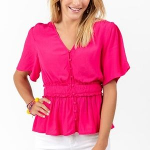 Whitney Smocked Waist Blouse NWT